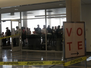 Students fill the polling place inside the Life Sciences Center.