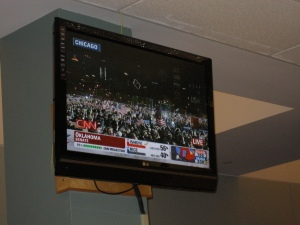 Our newsroom television was the center of focus during Obama's speech.