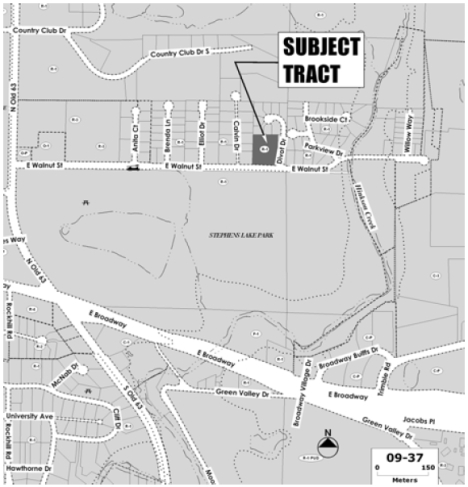Location of the building currently occupied by Randy Adams Construction and the parks department, taken from documents released by the city's planning department.